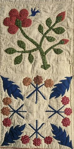 Album Quilt detail, 1847. Made by Mary Hill. Smithsonian Institution.