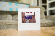 This beautifully photographed street sign has been turned into a unique and unforgettable greetings card. Thomas Street in Manchester makes a