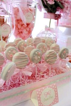 Chocolate covered oreos oreo pops, baby shower parties, baby shower cupcakes for girls, Shower Party, Baby Shower Parties, Baby Shower Themes, Baby Shower Decorations, Bridal Shower, Shower Ideas, Baby Decor, Baby Shower Candy Table, Oreo Pops