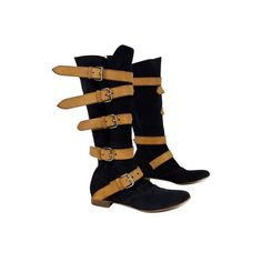 Pre-owned Vivienne Westwood Black & Tan Pirate Suede Boots (15.370 RUB) ❤ liked on Polyvore featuring shoes, boots, black, black pirate boots, punk rock boots, tan suede boots, union jack boots and black boots