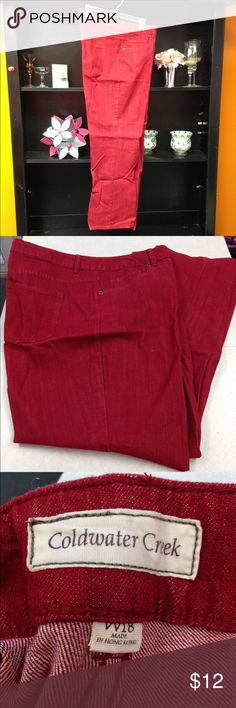 "Coldwater Creek Jeans Red Coldwater Creek jeans. Inseam is 32"". In excellent condition and from a smoke free home. Coldwater Creek Jeans Boot Cut"