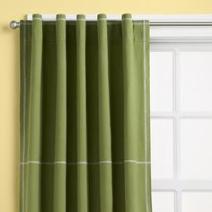 The Land of Nod | Kids Curtains: Kids Green Canvas Curtain Panels in Curtains & Hardwares