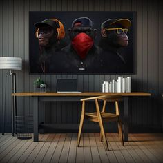 AAVV Painting Poster Canvas Wall Art Pictures Animal Chimps Earphone For Living Room Home Decor Animal Painting No Frame Rooms Home Decor, Home Decor Wall Art, Art Decor, Room Decor, Living Room Pictures, Wall Art Pictures, Cheap Paintings, Animal Paintings, Canvas Wall Art