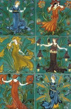 Walter Crane - Group of six tiles c.1900