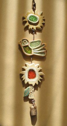 Clay & Glass Garden Mobile 3 Sun Bird Flower by SallysClay, $22.00