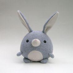 Grey Stuffed Bunny Rabbit Cute Plush Toy Animal by stuffedsilly