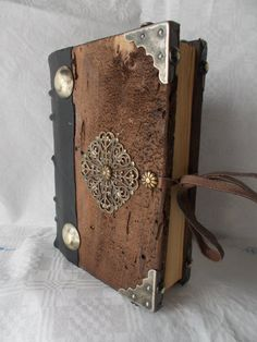 GUEST BOOK handmade Bookbinding wood leather black journal medieval FANTASY…