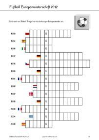 Kostenlose Arbeitsblätter, Rätsel und Spiele zur Fussball Europameisterschaft 2012