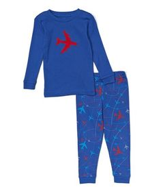 Loving this Blue & Red Airplane Pajama Set - Infant, Toddler & Boys on #zulily! #zulilyfinds