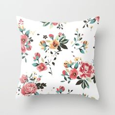 Roses Floral Bouquet Home Decor Design Shabby Chic Throw Pillow