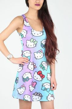 Japan LA x Hello Kitty Tank Dress: Bows I want this :) Hello Kitty Clothes, Hello Kitty Dress, Sanrio Hello Kitty, Gyaru, Cyberpunk, Rockabilly, Harajuku, Grunge, Pin Up
