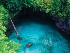 """""""To Sua"""" translates to """"Big Hole.""""   The translucent swimming hole seems shallow, but it's about 100 feet deep"""