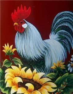 Rooster and Sunflowers Waterslide Decal Sheet 8 x 10 inches Home Decor, Kitchen Decor, Furniture, Walls Transfer Images 3 :Large and 5 Small Rooster Painting, Rooster Art, Tole Painting, Painting & Drawing, Chicken Painting, Chicken Art, Chickens And Roosters, One Stroke Painting, Country Art