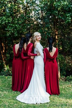 Mila's bridesmaids looked so elegant, sophisticated and gorgeous. They wore our Cherry red Abby Dress with a low cowl back and mesh sleeves. Bridesmaids, Bridesmaid Dresses, Wedding Dresses, Elegant Sophisticated, Cherry Red, Dress Making, Cowl, Designer Dresses, Mesh