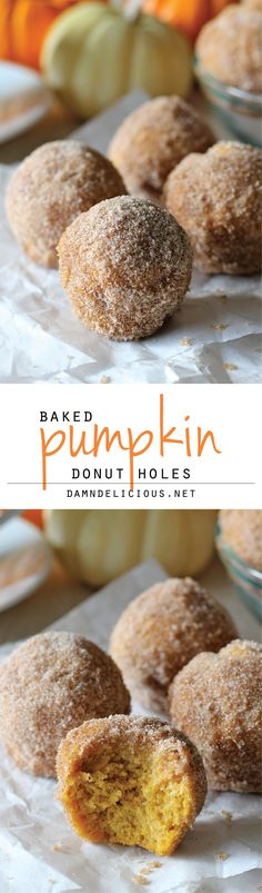 BRUNCH- Pumpkin Donut Holes - Irresistible pumpkin mini muffins smothered in cinnamon sugar goodness! So good, you'll want to double or triple the recipe! Bite Size Desserts, Köstliche Desserts, Delicious Desserts, Dessert Recipes, Yummy Food, Tasty, Dessert Party, Dessert Tables, Pumpkin Recipes