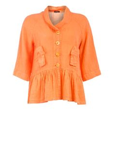 Linen jacket with flared hemline in Mandarine designed by Grizas to find in Category Coats & Jackets at navabi.de