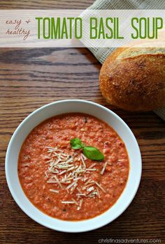 Easy & healthy tomato basil soup recipe.  It uses plain greek yogurt to thicken it up instead of cream! Perfect weeknight meal. #healthy #recipe
