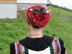 """Uplitky"" traditional hair style. yarn ribbons braided. into the braids [Hutsul]"