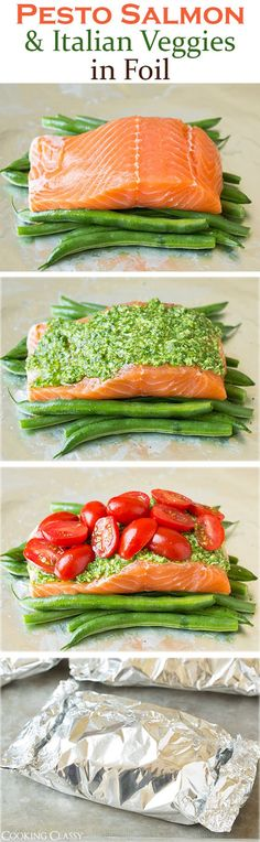Pesto Salmon and Italian Veggies in Foil - this is an easy, flavorful dinner that is sure to please! So delicious!: #HealthyDetoxRecipes