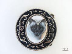 Round belt buckle, Siamese cat, Pearl Tiara, Free shipping