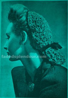 Snood Pattern To Crochet From Original Vintage 1940s Pattern