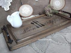 Купить Поднос Bon appetit - коричневый, поднос, поднос для кухни, поднос деревянный, поднос для завтрака