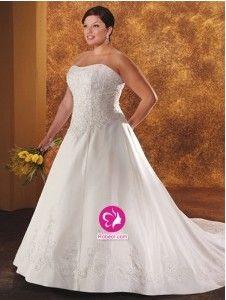 A-ligne Col en cœur Traîne longue Robe de mariée en Satin avec Perle Broderie(FR0257175)