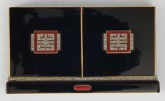An art deco enamel and diamond vanity case, signed LACLOCHE Frères. Trousse in oro con smalto nero, rosso e diamanti gr 181. (hva)