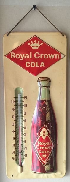 Royal Crown Cola Antique Thermometer (Old 1940 Vintage RC Soda Pop Beverage Drink Advertising Sign)