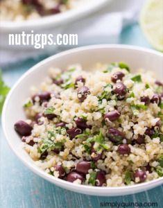 quinoa con frijoles,cilantro y limón