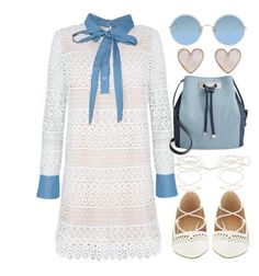 """Blue-Me"" by joslynaurora on Polyvore featuring moda, INC International Concepts, Sunday Somewhere, New Look, dress, date, flats y sunglasses"