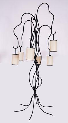 Jean ROYERE (French, Liane, model circa LampBlack-lacquered x in. Lamp Design, Lighting Design, Mid-century Modern, Modern Design, Rustic Home Interiors, Fine Art Auctions, Vintage Lighting, Decoration, Vintage Designs