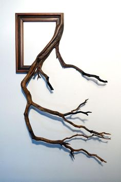 Artist Darryl Cox fuses ornate vintage picture frames with tree branches found…