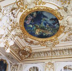 Beautiful Paris mural. Love this ceiling!