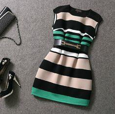 Slim stripe print dress AX101401ax