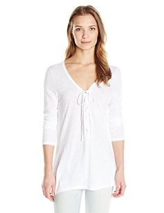 RD Style Women's Lace Up Front Long Sleeve Tee