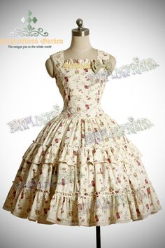 Country Lolita Maiden Tiered Trimmings OP/Jumper Dress*Instant Shipping $95
