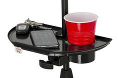 Black Frameworks Microphone Stand Accessory Tray With Drink Holder Toys