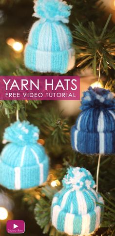 Yarn Hat Holiday Ornaments: Free Video Tutorial, DIY and Crafts, Yarn Hat Holiday Ornaments: Free Easy Craft Video Tutorial with Studio Knit. Diy Christmas Hats, Christmas Craft Projects, Christmas Ornament Crafts, Holiday Ornaments, Yarn Crafts, Holiday Crafts, Ornament Tree, Homemade Christmas, Craft Videos
