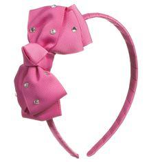 Angel's Face Girls Pink & Diamanté Bow Hairband at Childrensalon.com