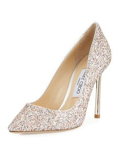 Romy+Glitter+Pointed-Toe+100mm+Pump,+Pink+Metallic+by+Jimmy+Choo+at+Neiman+Marcus.