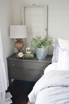 Unbelievable Neutral master bedroom – Nightstand makeover with magnolia home paint in one horn white. A must pin for farmhouse style & cottage style decor! The post Neutral master bedroom – Ni . Casa Magnolia, Magnolia Homes Paint, Cottage Style Decor, Cottage Chic, Farmhouse Master Bedroom, Master Bedrooms, Luxury Bedrooms, White Bedrooms, Small Master Bedroom