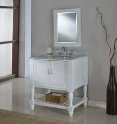 "Mission Turnleg Spa 32"" White Vanity with Carrara White Marble Top"