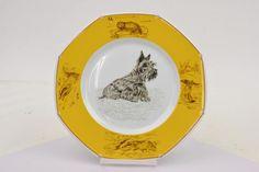 Authentic Hermes Plate Scottish Terrier Yellow 21.5cm 128239 #Hermes