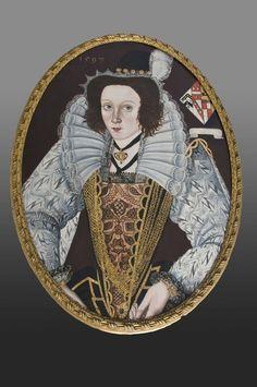1597 - Elizabethan portrait of lady Elizabethan portrait on oak panel, dated 1597, cut into oval frame at later date and back restored. Origin: England