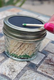 This reminds me of camping with Mom, Dad, Grandpa and Grandma.  The entire family had/ has this idea in varried containers.  Recycle Reuse Renew Mother Earth Projects: How to make Camping Match Jars
