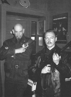 """CIA-connected mind control programmer and founder of the Church of Satan, Anton LaVey & Peter H. Gilmore in The """"Black House"""" (San Francisco, early The Satanic Bible, Satanic Art, Laveyan Satanism, The Devil's Own, Witch Rituals, Spirit Ghost, Devil You Know, Satanic Rituals, Aleister Crowley"""