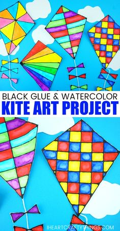 This gorgeous black glue kite art project is a perfect compliment to a family afternoon of flying kites at the park on a windy day. It is also a fun art project to make this summer when you are indoor Summer Art Projects, Spring Crafts For Kids, Cool Art Projects, Projects For Kids, Art Project For Kids, Family Art Projects, Summer Arts And Crafts, Kites For Kids, Art For Kids