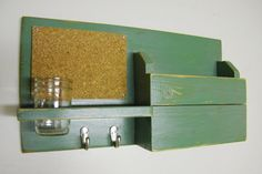 Wall Mail Organizer Mail Box Mason Jar Key Hooks by WWRusticDesign