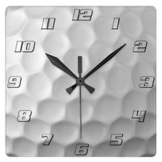 Golf Ball Dimples Texture Pattern with numbers Square Wallclocks #Golf #Balls #Dimples #Textures #Patterns #Wallclocks #GolfBalls
